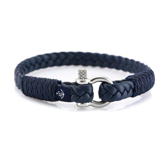 Темно-синий тонкий кожаный браслет для мужчин и женщин — Jack Tar 10067