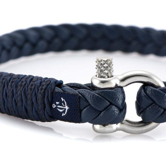 Темно-синий тонкий кожаный браслет для мужчин и женщин — Jack Tar 10066 (Copy)