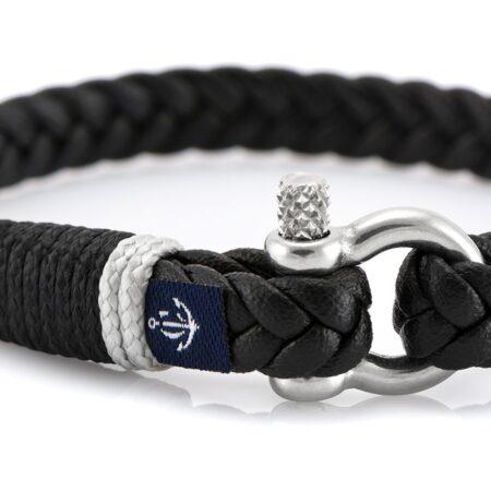 Темно-синий тонкий кожаный браслет для мужчин и женщин — Jack Tar 10068