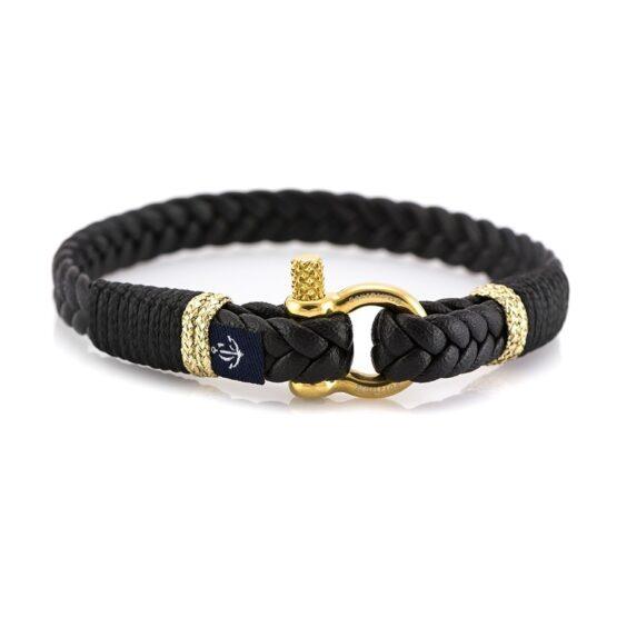 Тонкий кожаный браслет чёрного цвета для мужчин и женщин — Jack Tar 10069