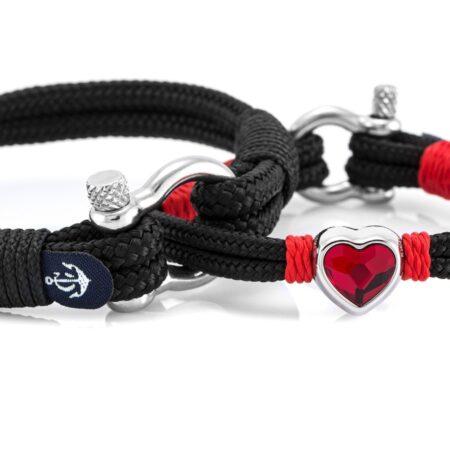 Парные браслеты для влюбленных с красным кристаллом Swarovski — № 966