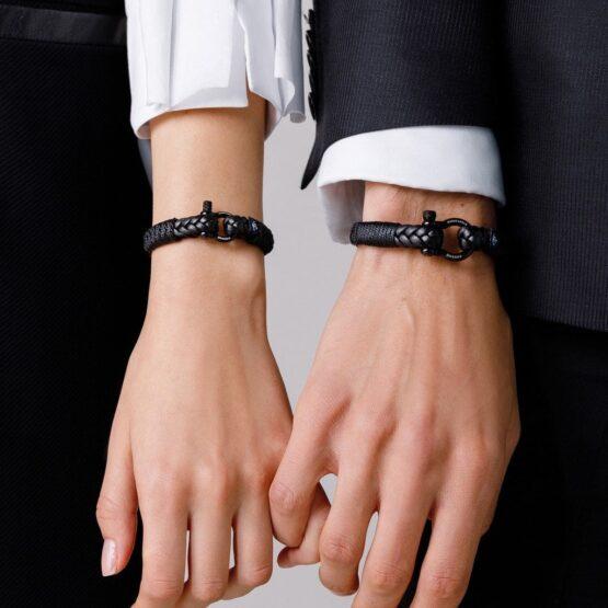 Парные браслеты из кожи чёрного цвета № 975