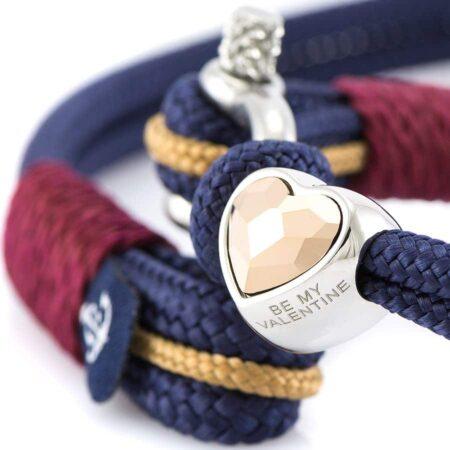 Парные браслеты для влюблённых с кремовым сердцем сваровски — № 978