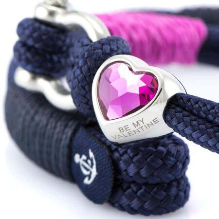 Парные браслеты для влюблённых с розовым кристаллом Swarovski — № 979