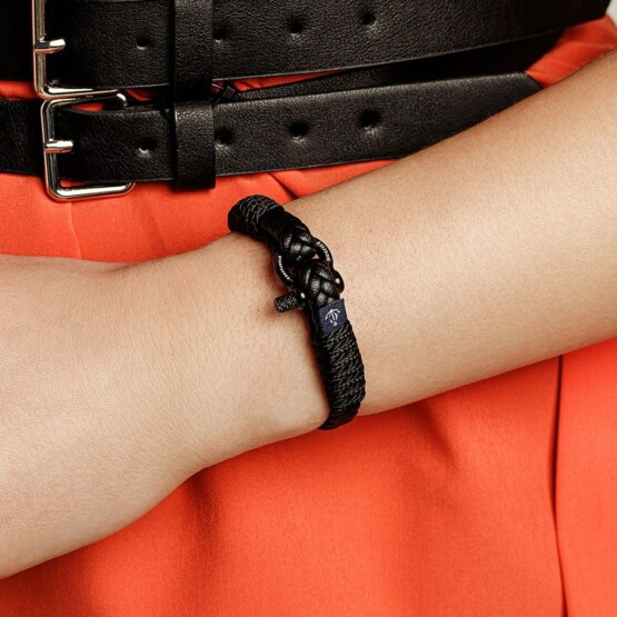 Тонкий кожаный браслет чёрного цвета для мужчин и женщин — № 10070 фото 2