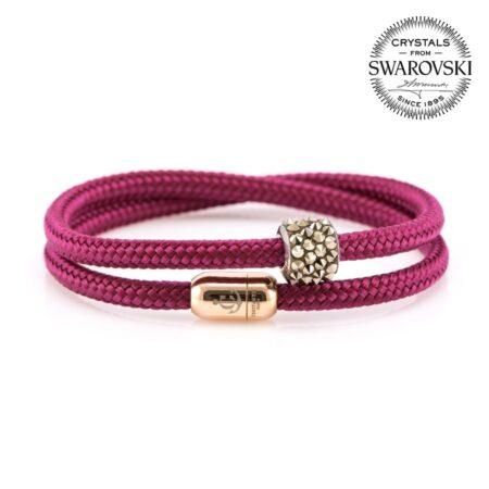 Двойной браслет сваровски бордового цвета с магнитом для женщин — № 7159