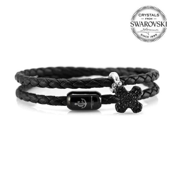 Двойной чёрный кожаный браслет сваровски для мужчин и женщин с магнитом — SWAROVSKI 7262