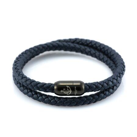 Мужской синий кожаный магнитный браслет CNJ 10057