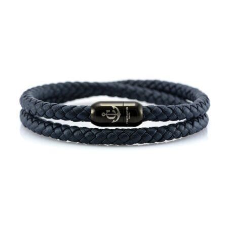 Двойной синий кожаный браслет с магнитным замком № 10057