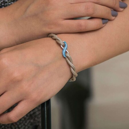 Бежевый женский браслет «Бесконечность» с камнем Swarovski — № 7258aБежевый женский браслет «Бесконечность» с камнем Swarovski — № 7258 фото 5
