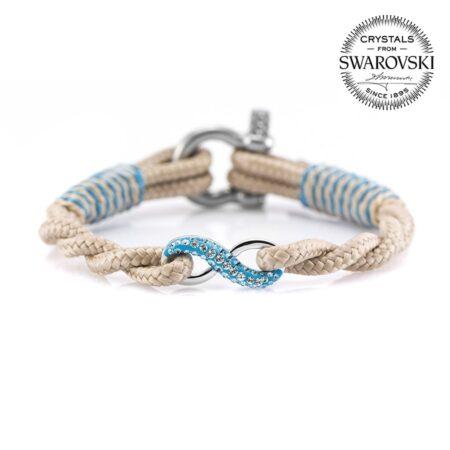 Бежевый женский браслет «Бесконечность» с камнем Swarovski — № 7258