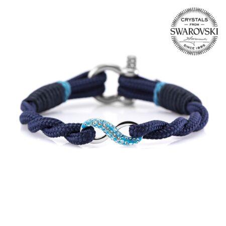 Синий женский браслет «Бесконечность» с камнем Swarovski — № 7259 фото