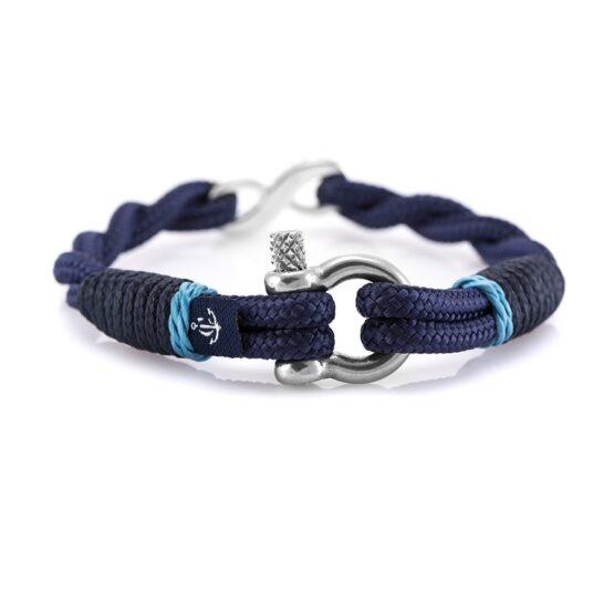 Синий женский браслет «Бесконечность» с камнем Swarovski — № 7259