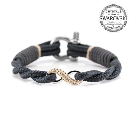 Браслет «Бесконечность» серого цвета с камнем Swarovski — № 7260 фото1