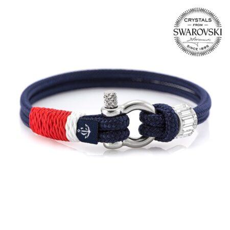 Синий женский браслет с камнем Swarovski — № 7269