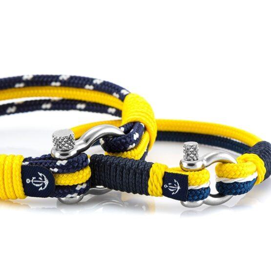 Парные браслеты для влюбленных синего и жёлтого цвета — № 981