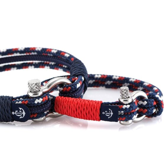 Синие парные браслеты комбинированные № 983