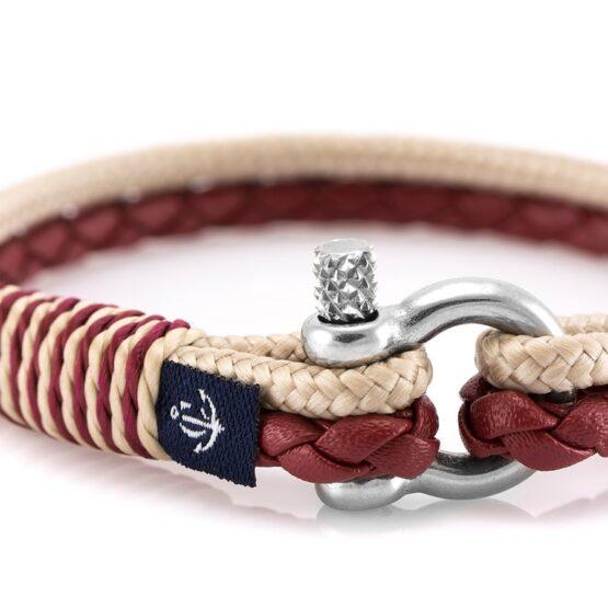 Красный тонкий кожаный браслет с бежевой нитью для женщин — № 10071