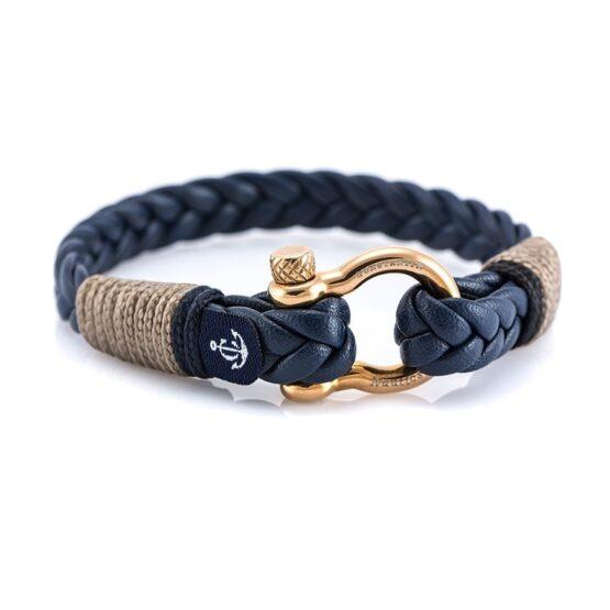 Мужской синий кожаный браслет с золотистым замком — № 10080 Фото 1