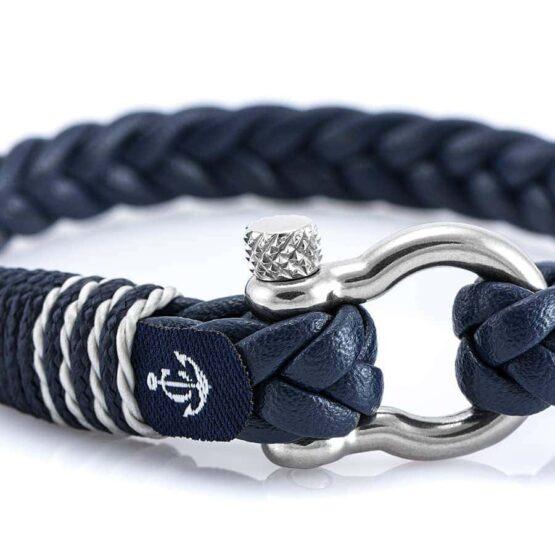 Тёмно-синий мужской кожаный браслет — № 10081