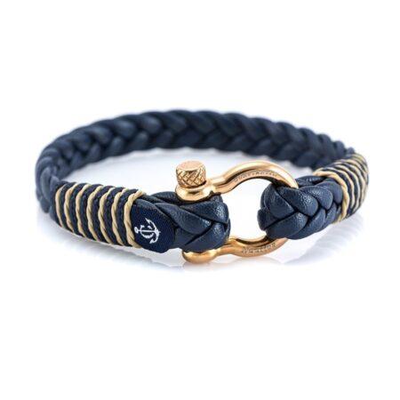 Мужской синий кожаный браслет с золотистым замком — № 10085 фото1