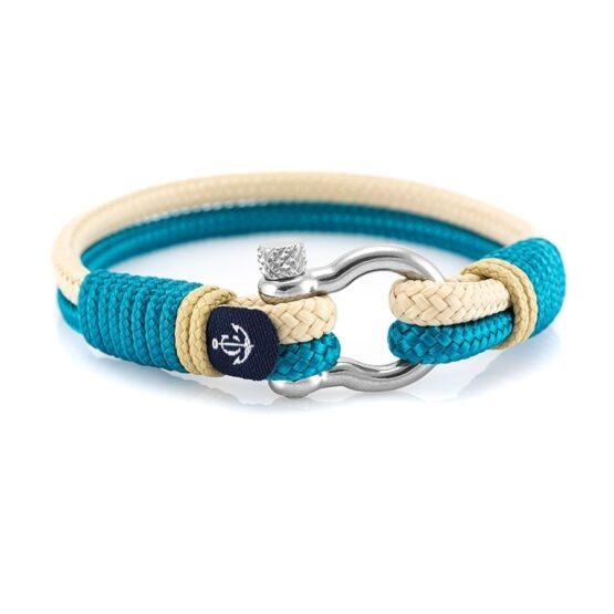 Бирюзовый и бежевый браслет для мужчин и женщин — № 5115