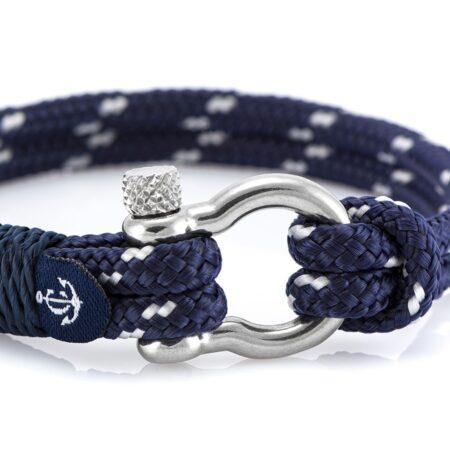 Морской браслет синего цвета с белым акцентом для мужчин и женщин — № 5120