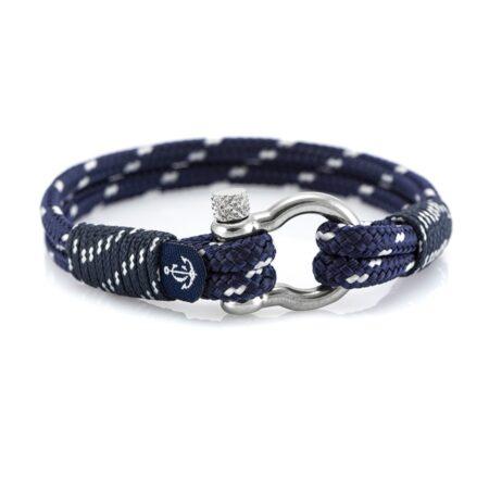 Морской браслет синего цвета с белыми крапинками для женщин и мужчин — № 5121