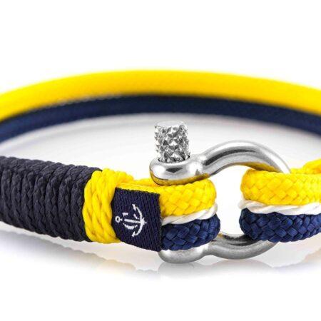 Жёлто-синий тонкий браслет с белой нитью для женщин — № 889