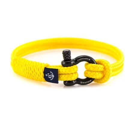 Жёлтый тонкий браслет с чёрным замком для женщин — № 890