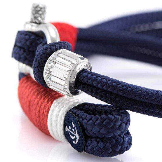Парные синие браслеты для влюблённых с камнем Swarovski — № 984 фото 2