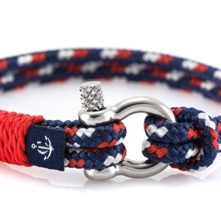 Тонкий браслет синего цвета с красной нитью — № 0800