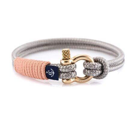 Серый тонкий браслет с персиковым акцентом — № 0806