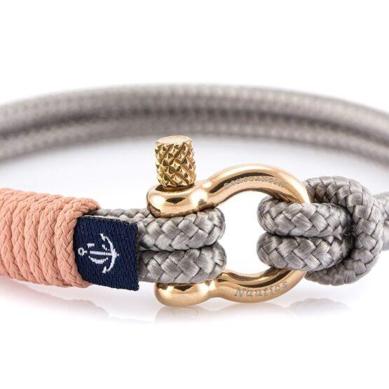 Серый тонкий браслет с розовым акцентом — № 0807 (Копировать)