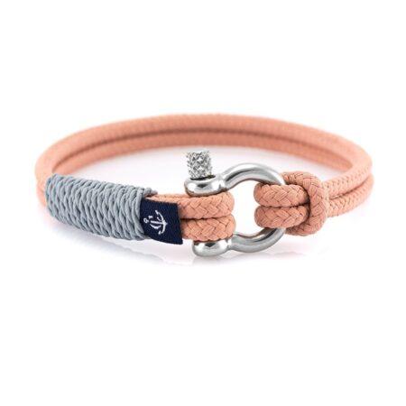 Серый тонкий браслет с персиковым акцентом — № 0806 (Копировать)