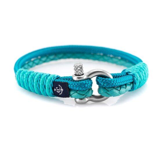 Кожаный браслет бирюзового цвета с голубой нитью — № 10073