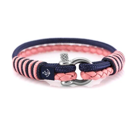 Кожаный браслет для женщин розового цвета с синей нитью — № 10074