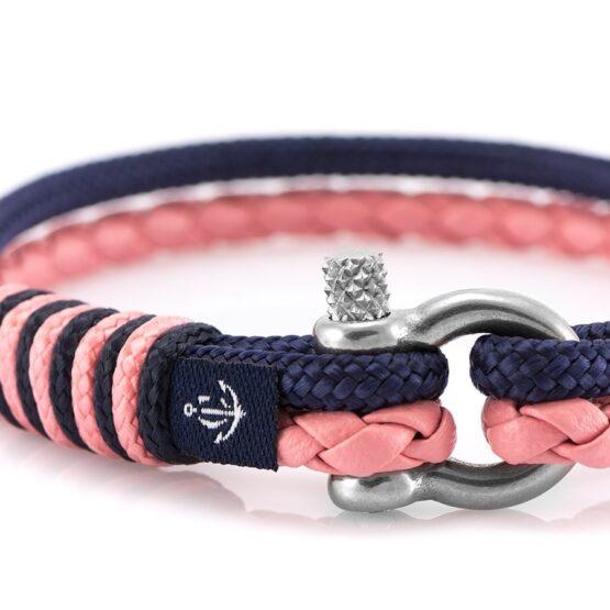 Кожаный браслет бирюзового цвета с голубой нитью — № 10073 (Копировать)