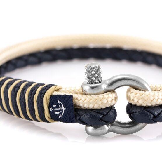 Кожаный браслет белого цвета с чёрной нитью — № 10072 (Копировать)