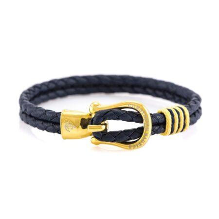 Кожаный браслет тёмно-синего цвета с золотистым крючком — № 10088