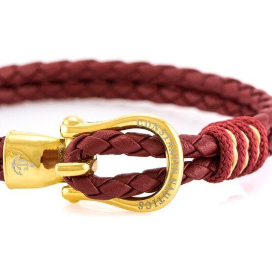 Кожаный браслет тёмно-синего цвета с золотистым крючком — № 10088 (Копировать)