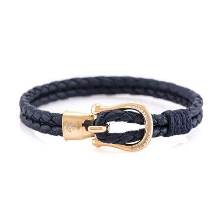 Кожаный браслет синего цвета с бронзовым крючком — № 10090