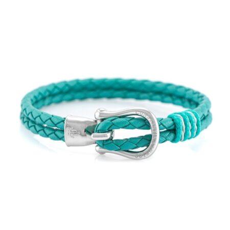 Кожаный браслет голубого цвета с серебристым крючком — № 10092