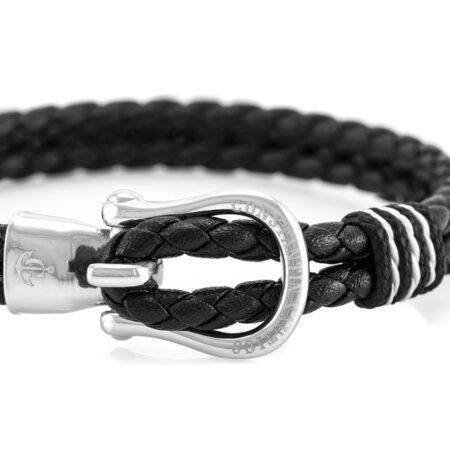 Кожаный браслет голубого цвета с серебряным крючком — № 10092 (Копировать)