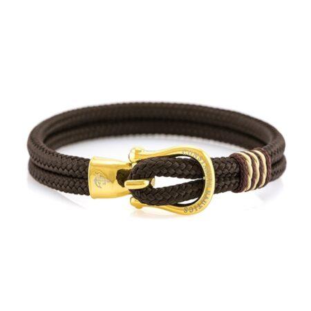 Мужской синий кожаный браслет с золотистым замком — № 10080 (Копировать)