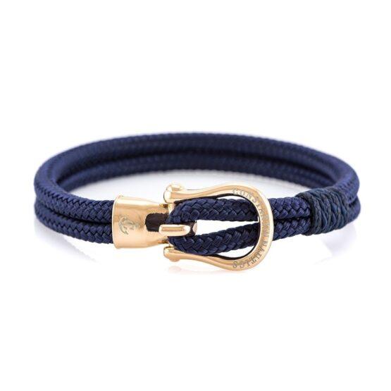 Браслет синего цвета с золотистым крючком — № 2103
