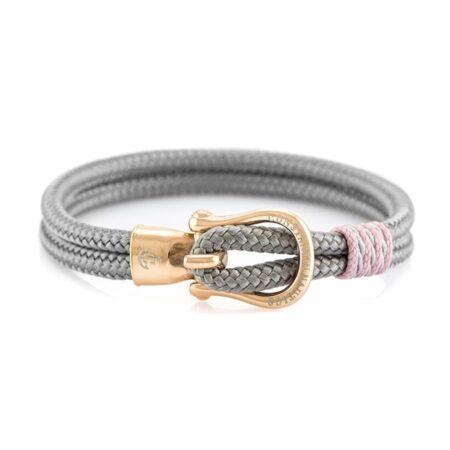 Браслет серого цвета с золотистым крючком — № 2104