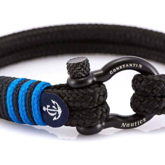 Чёрный браслет для мужчин с синим акцентом — № 4105