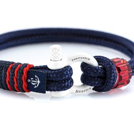 Чёрный браслет сваровски с чёрным замком и красным акцентом — № 7270 (Копировать)
