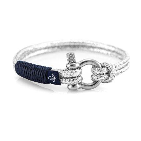 Серебристый тонкий браслет с синим акцентом — № 891